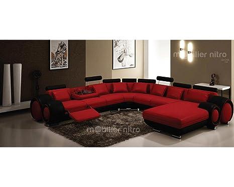 mobilier nitro Sofá Piel panorámica Fresno Rojo y Negro ...