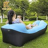 Kishoo Ten Seconds Banana Down Sleeping Bag Camping Air Sofa Hangout Lazy Bag Inflatable Air Bed Waterproof Beach Bed Laybag (SkyBlue)
