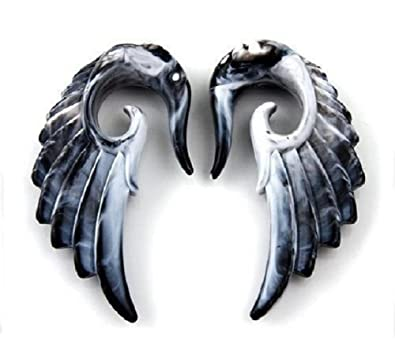Amazon.com: Angel Wing Tapers with Black and White Marble Pattern (1 Pair) (00g (9.5mm)): Jewelry