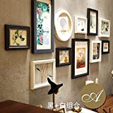 WUXK European-style living room solid wood photo wall American decorative wall creative combination photo frame wall photo wall background box,