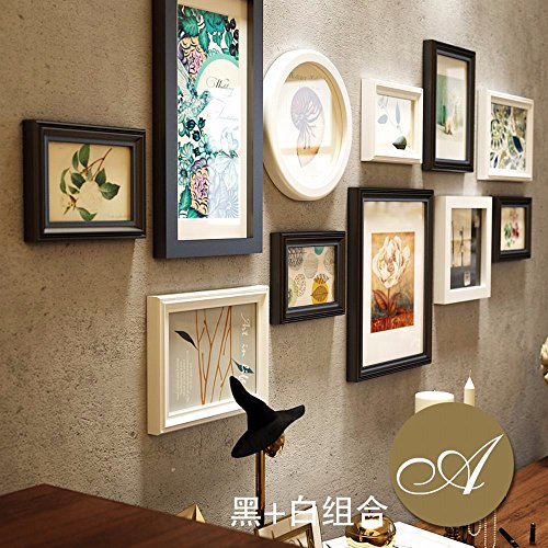 WUXK European-style living room solid wood photo wall American decorative wall creative combination photo frame wall photo wall background box, by WUXK