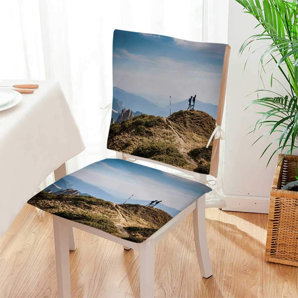 Mikihome Seat Set Cushion The Meaning of Travel 2 Piece Classic Decorative Chair pad Mat:W17 x H17/Backrest:W17 x H36