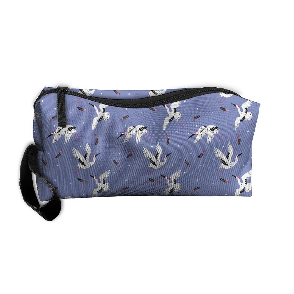 14cd21d6c733 LogicPor Japan Stork Pattern Portable Zipper Makeup Bag Travel ...
