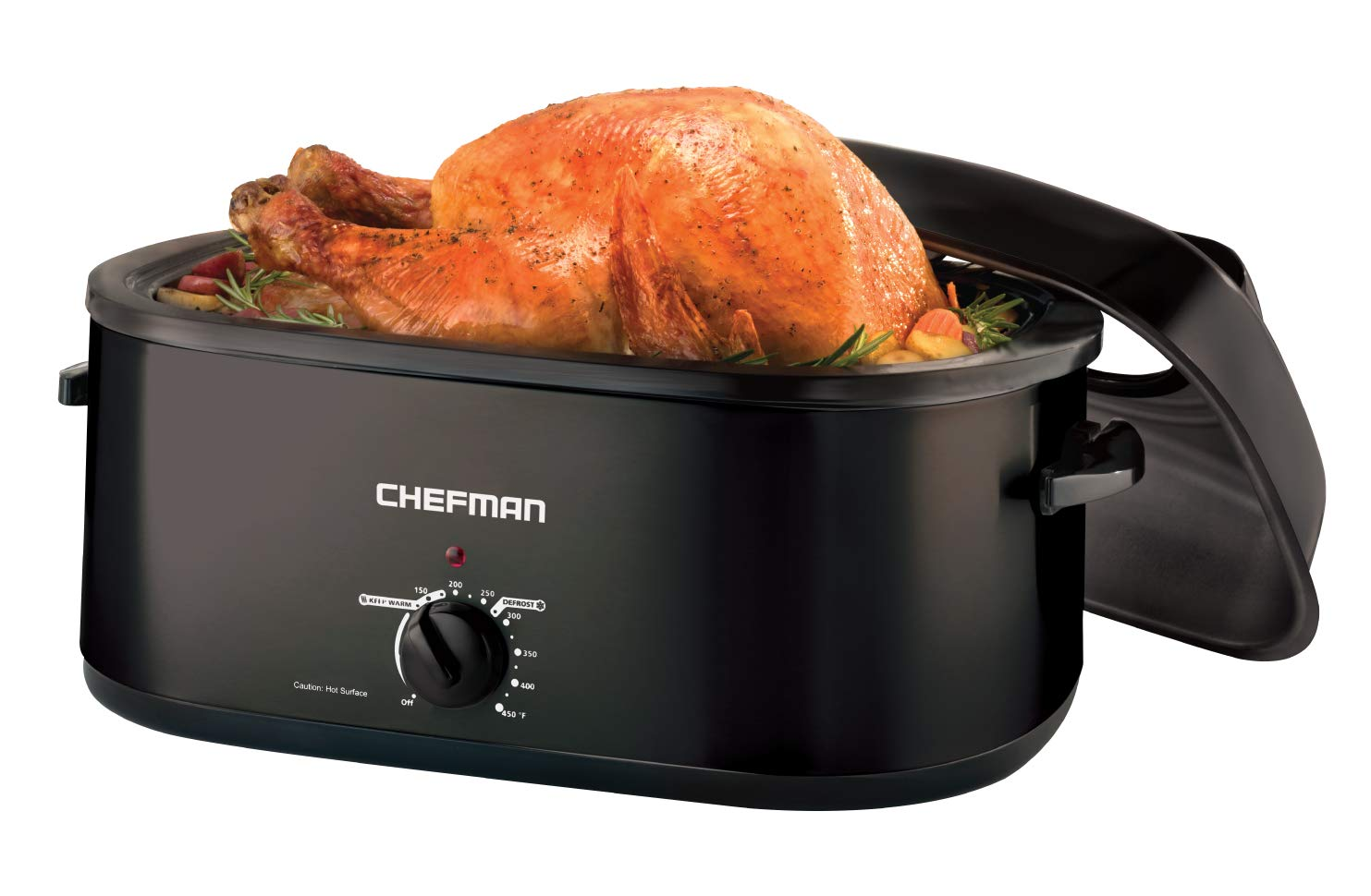 Chefman 20 Quart Roaster Oven Slow Cooker w/Window Viewing Lid Perfect Cooking Roasting, Baking, Serving and More, Family Size, Black (Black)