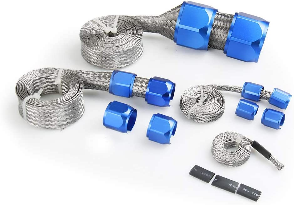 Bang4buck Fuel Hose Sleeve Clamp Stainless Steel Braid Hose Engine Vacuum Fuel Heater Sleeving Kit- HSK1001-8091