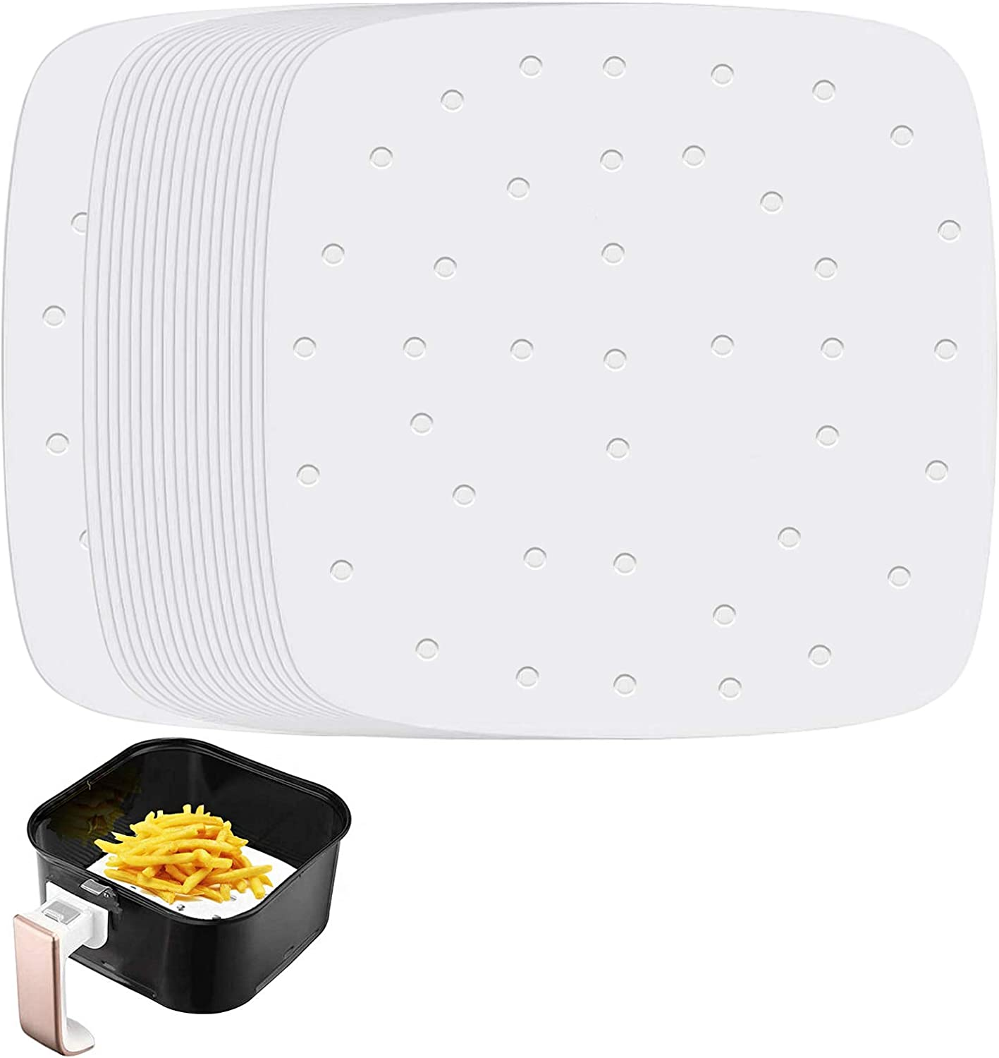 Square Air Fryer Liners, Set of 200, 9.5 Inch Square Air Fryer Parchment Paper/Perforated Parchment Paper for Air Fryer, Steaming Basket and More (5.5/6.5/7.5/8.5inch Available)