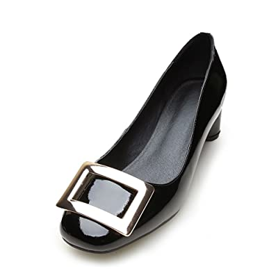 AdeeSu Womens Buckle Round-Toe Professional Leather Loafers Shoes SDC04518