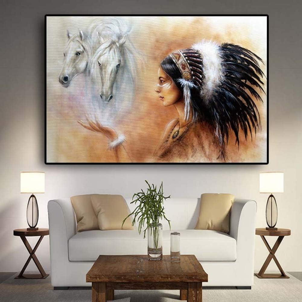ZWBBO Pintura con Lienzo de Caballo de Mujer Carteles e Impresiones de Cuadros para Sala de Estar