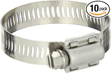 1//2 Band Width 3-1//16 to 4 Diameter Range Pack of 10 SAE Size 56 Breeze Liner Stainless Steel Hose Clamp Worm-Drive