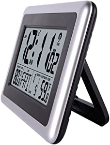 UMEXUS Atomic Clock,Digital Wall Desk Clock Large Display with Indoor Outdoor Temperature Date Calendar Digital Alarm Clock Battery Operated for Kitchen Bedroom