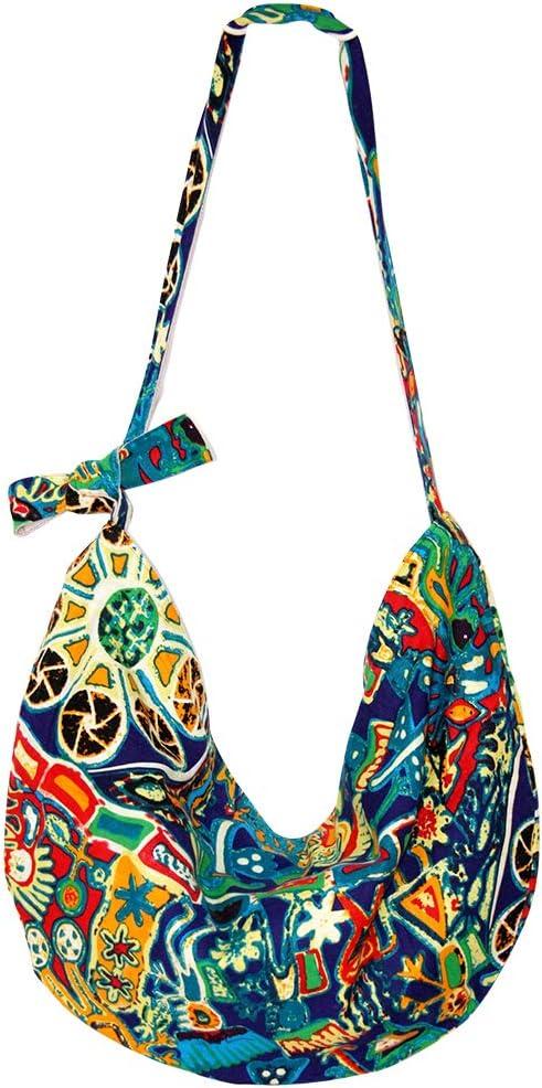 Uso Quotidiano Borsa Etnica Donna Tracolla con Tracolla Regolabile per Viaggio Spiaggia Vacanze Blu Arancione INSOUR Borsa Boho Hippie Donna