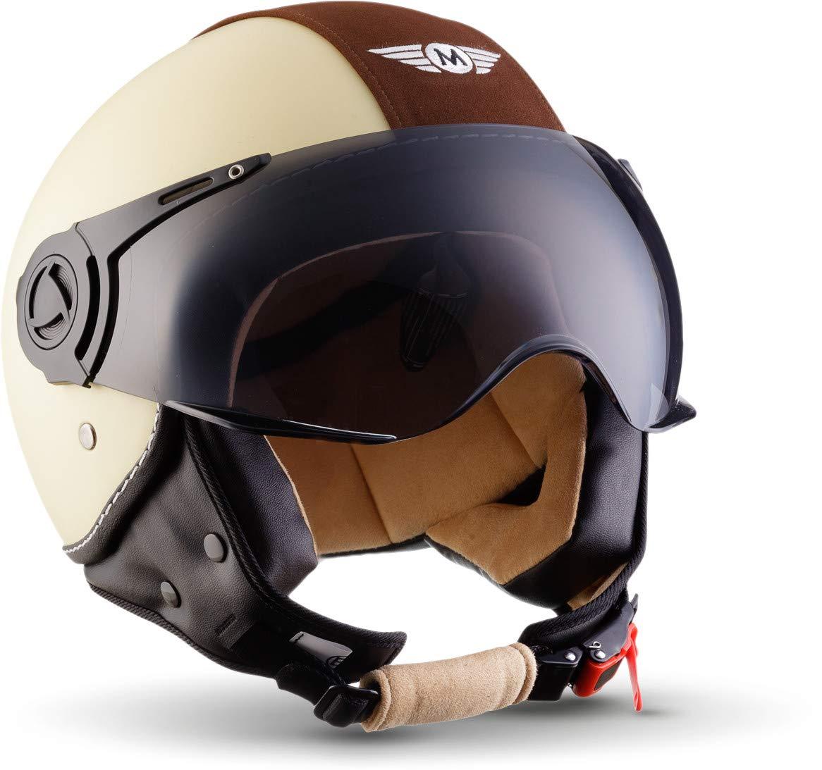 55-56cm Cloth Bag /· Beige /· S Sun Visor /· incl MOTO H44 Vintage Creme /· Vespa-Helmet Retro Vintage Mofa Pilot Moto-Helmet Bobber Scooter-Helmet Chopper Cruiser Biker Jet-Helmet /· ECE certified /· incl