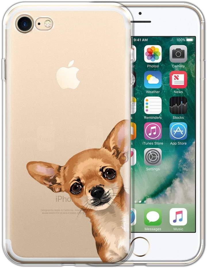 FINCIBO Case Compatible with Apple iPhone 7/8 4.7 inch/iPhone SE 2020, Clear Transparent TPU Protector Case Cover for iPhone 7/8 / SE (NOT FIT 7 Plus) - Fawn Apple Head Chihuahua Look for You