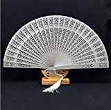 Silver Sandalwood Folding Hollow Carved Dyed Hand Fan Wedding Accessories Decoration Party Favors