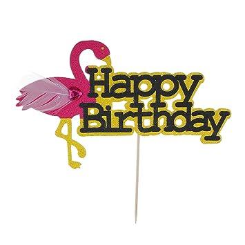 Blesiya Topper Pour Gateau Avec Flamant Rose Happy Birthday Joyeux