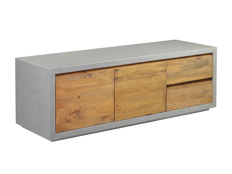 Woodkings TV Bank Burnham, Lowboard aus recyceltem Pinien Holz rustikal, Korpus Beton - Optik, TV-Regal, TV Unterschrank, TV Board, Fernsehbank, Fernsehtisch, Loft & Wohnzimmer Möbel