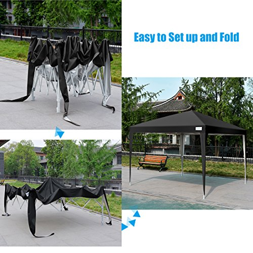 Quictent 2018 Upgraded Privacy 8x8 EZ Pop Up Canopy Party Tent Folding Gazebo with Mesh Windows and Sidewalls 100% Waterproof (Black)