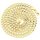 """LoveBling 10K Yellow Gold 5.5mm Solid Pave Two-Tone Curb Chain Necklace with White Gold Pave Diamond Cut, with Lobster Lock (18"""" to 30"""")"""
