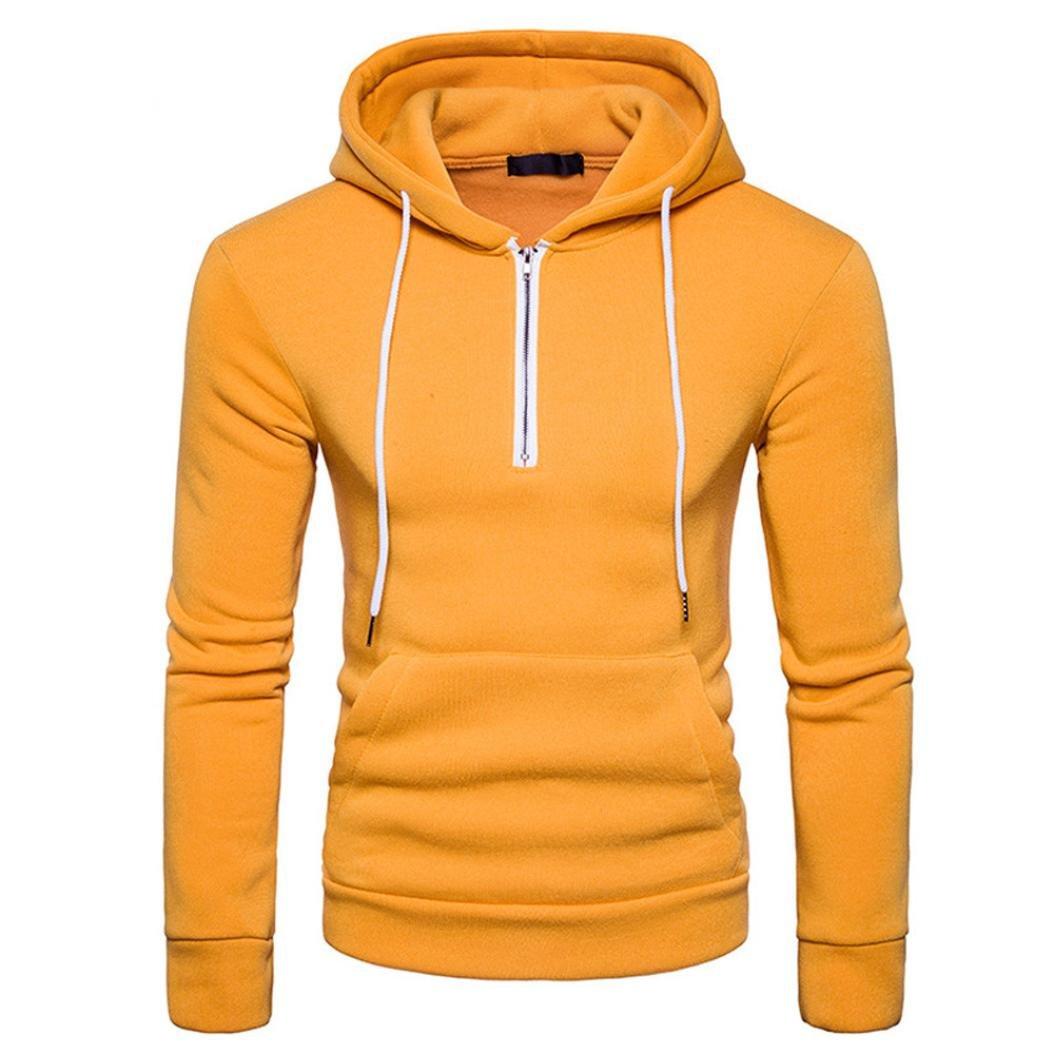 YANG-YI 2017 Men Cotton Blend Pullover Hoodie Basic Hooded Long Sleeve Sweatshirt Zipper Outwear (M, Yellow)