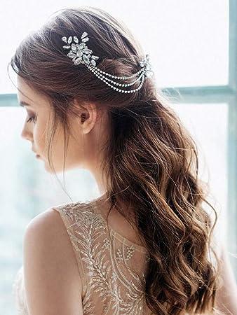 Amazon Com Barogirl Wedding Rhinestone Comb Bridal Chain Headpiece