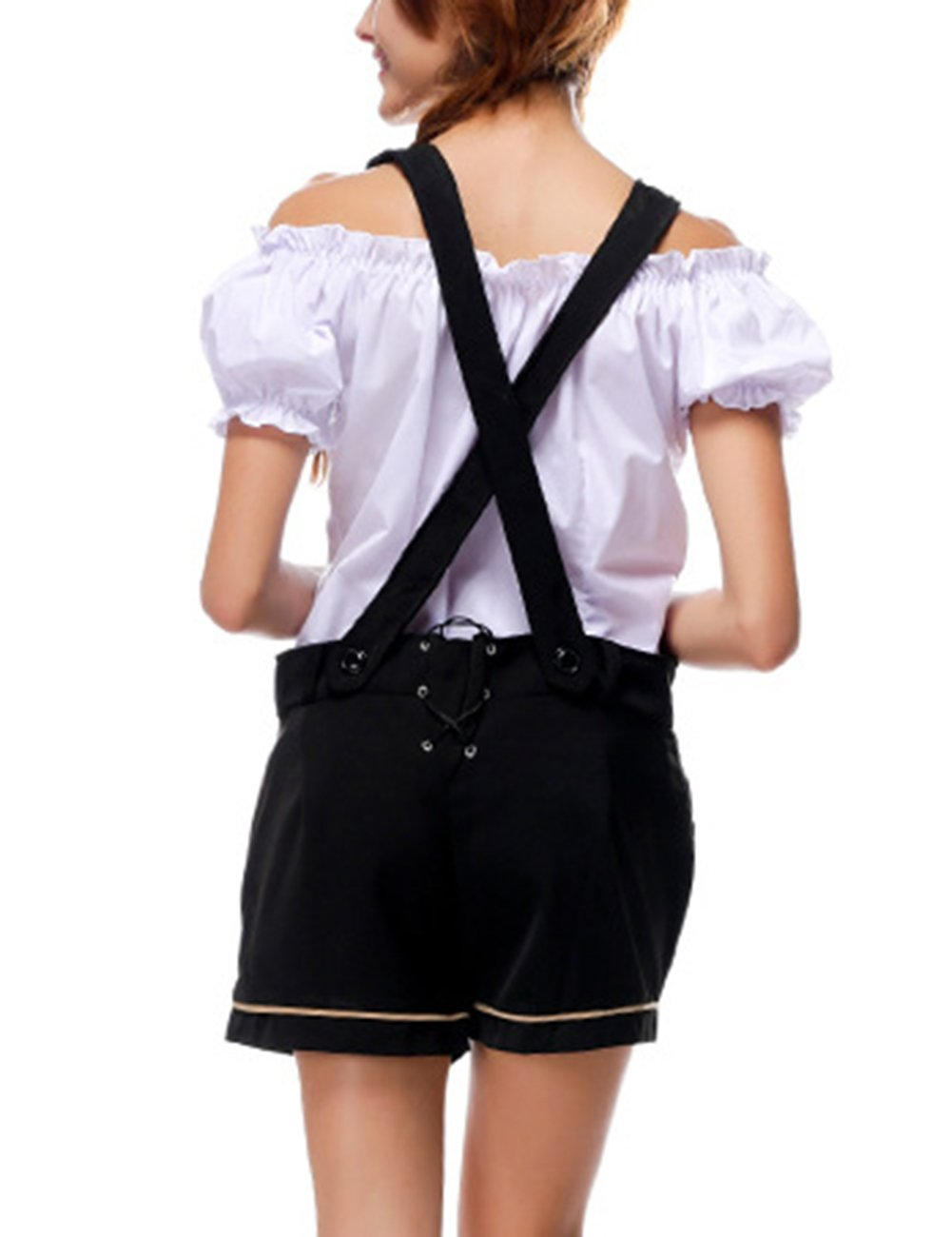 Yiwa Oktoberfest Costumes Women Classic Retro Costumes Sexy Charming Off Shoulder Beer Festival Tops + Suspenders Pants by Yiwa (Image #1)