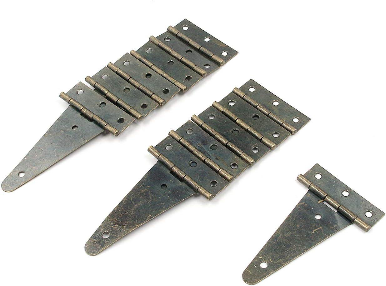 Antrader 4 Inch T-Strap Light Duty Shed Door Hinge Cabinet Gate Hinge Barn Gates Door Hinges Brass Wrought Iron Rustproof Hardware 12 Pack