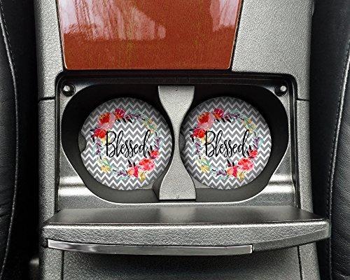 Blessed Car Coasters - Motivational, Happy Absorbent Sandstone - (SET of 2) - 2.56