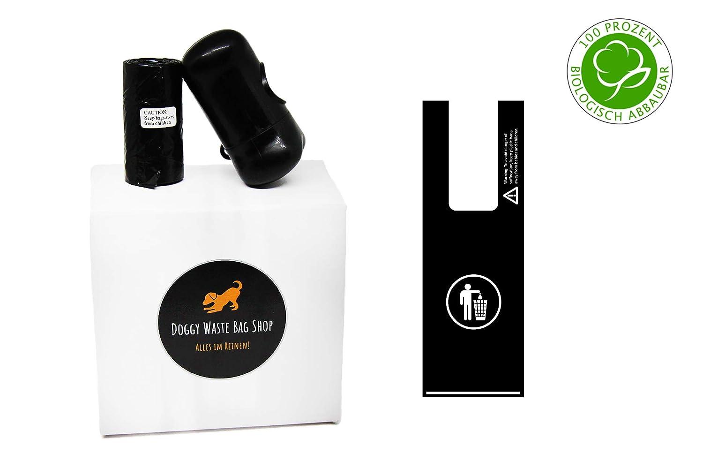 bolsas para excrementos de perro con asa, biodegradable, sin olores, resistente al desgarro, sin fragancia, negro, 300 piezas + dispensador: Amazon.es: ...