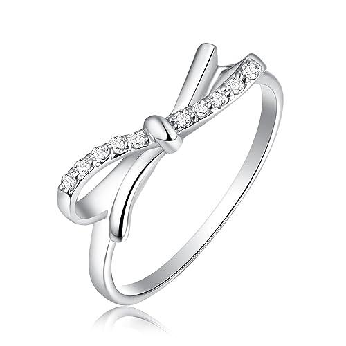 Plata de Ley 925 color Blanco Diamante Anillos de boda para mujeres tamaño 6 – 8