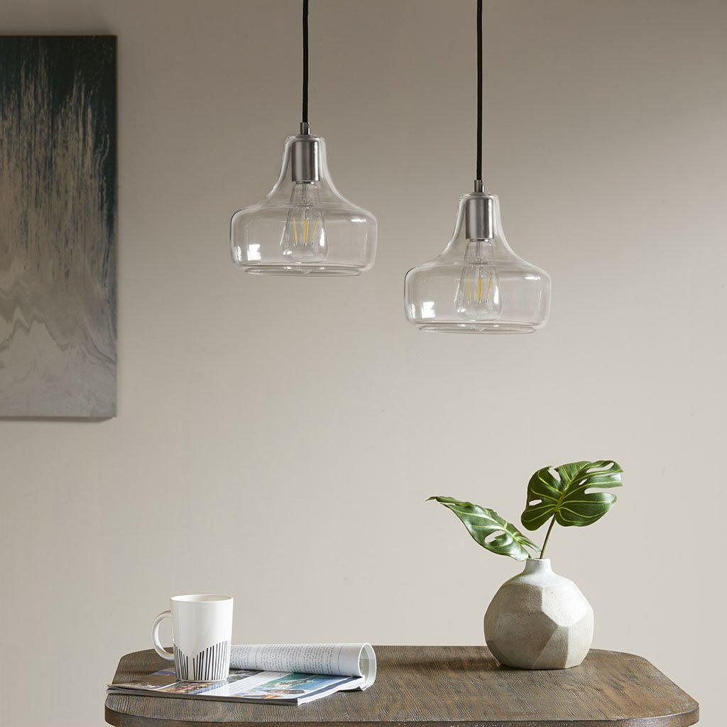 Clear Glass Pendant Light Fixtures - Channing 2 Pack Dome Shaped Overhead Light - Ceiling Kitchen Hanging Lighting with Brush Gunmetal Housing - By Capella
