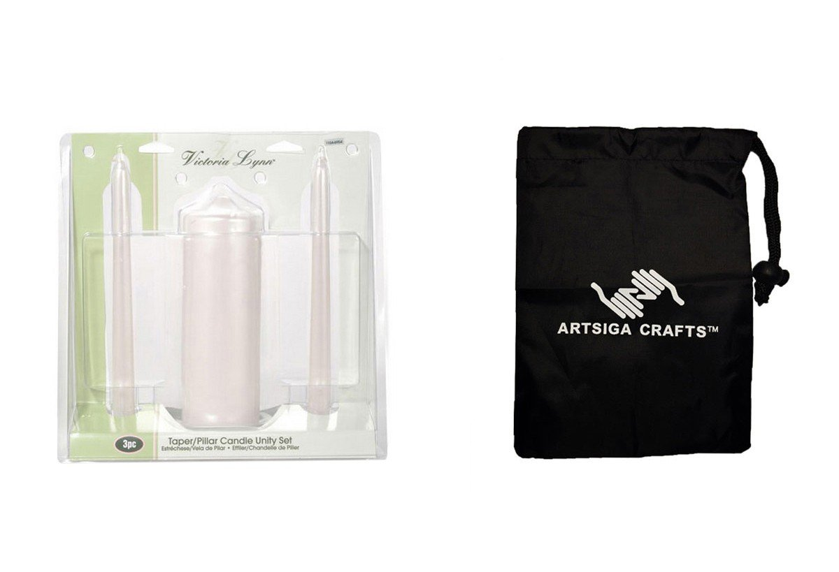 Darice Wedding Candles Victoria Lynn Unity Candle Set Plain Pearl 3 Pieces (1 Pack) 1104 6954 Bundle with 1 Artsiga Crafts Small Bag