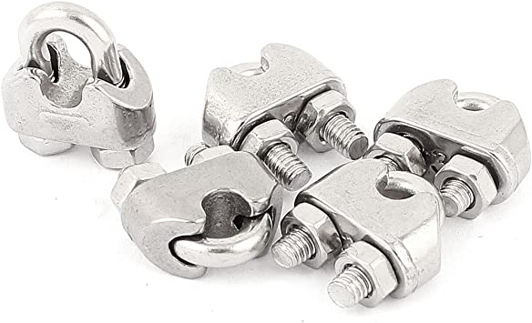 5Pcs Wire Rope Clips 5Mm 3//16 Stainless Steel Wire Rope Cable Clamp Clip Fastener for Ships and Vessels Lifting Tools