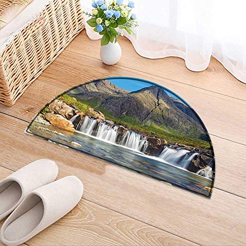 Semicircle Area Rug The Fairy Pools isle of Skye Scotland Living Dinning Room & Bedroom Rugs W35 x H24 ()