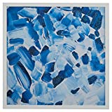 Abstract Hues in Blue in White Wood Frame, 32'' x 32''