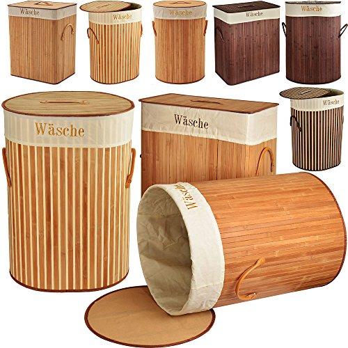 Wäschekorb Bambus eckig 70l Wäschebox Wäschetruhe Wäschesammler
