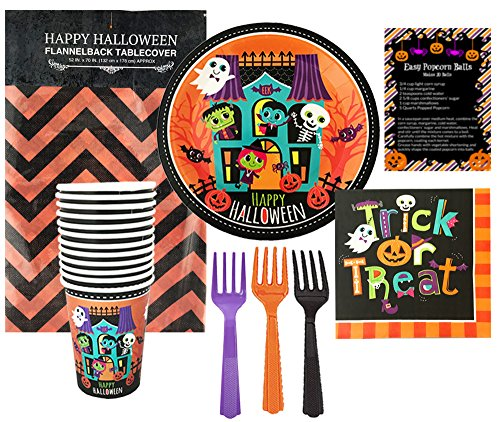 Halloween Party Disposable Tableware Supply Set (58 Piece) - Happy Halloween - Dinner Plates, Napkins, Cups, Table Cover, Forks (Serves 12)
