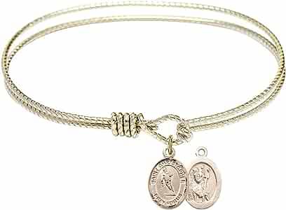 DiamondJewelryNY Eye Hook Bangle Bracelet with a St Christopher//Rugby Charm.