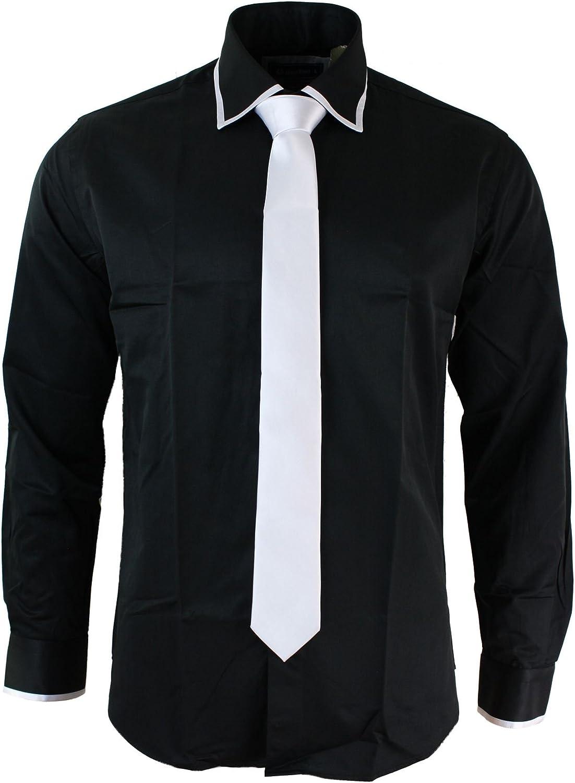 Camisa & Corbata Satin Seda Trim Ajustada Caballero Blanco Negro ...