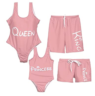 0800499d9faa8 Family Matching Swimsuit One Piece Beach Wear Princess/King/Queen Letter  Print Sporty Monokini