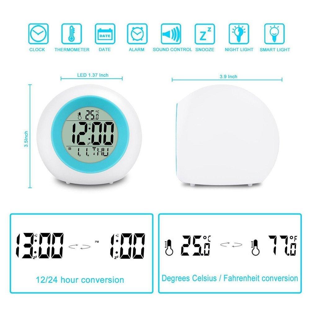 Amazon.com: Reloj despertador con luz LED y pantalla de ...