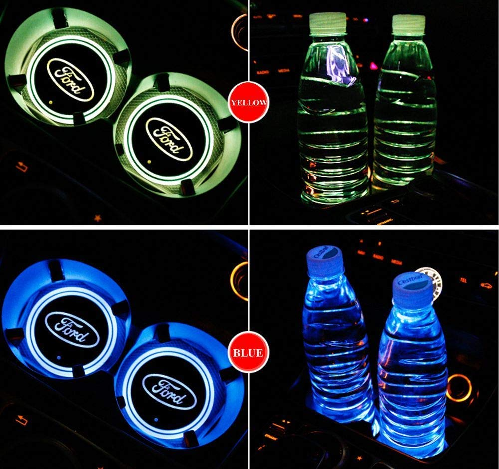 2 PCS LED Cup Holder Lights for Ford,Car Logo Coaster with 7 Colors Changing USB Charging Mat Luminescent Cup Pad Interior Atmosphere Lamp Decoration Light
