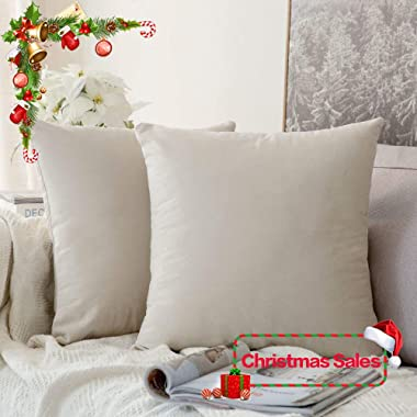 MIULEE Pack of 2, Velvet Soft Soild Christmas Decorative Square Throw Pillow Covers Set Cushion Cases Pillowcases for Sofa Bedroom Car18 x 18 inch 45 x 45cm