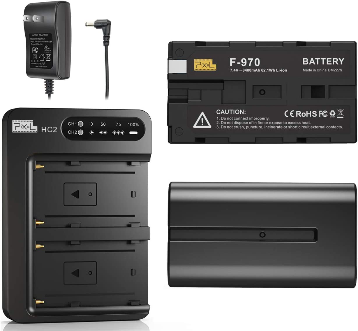 NP-F970 Battery and Charger, Pixel 2 Pack 8400mAh NP F970 Battery with 30W Dual Channel Charger for Sony NP F750, F550, F570 and Sony TR917, CCD-SC55, Fit for Pixel 60C Ring Light and K80 Video Light