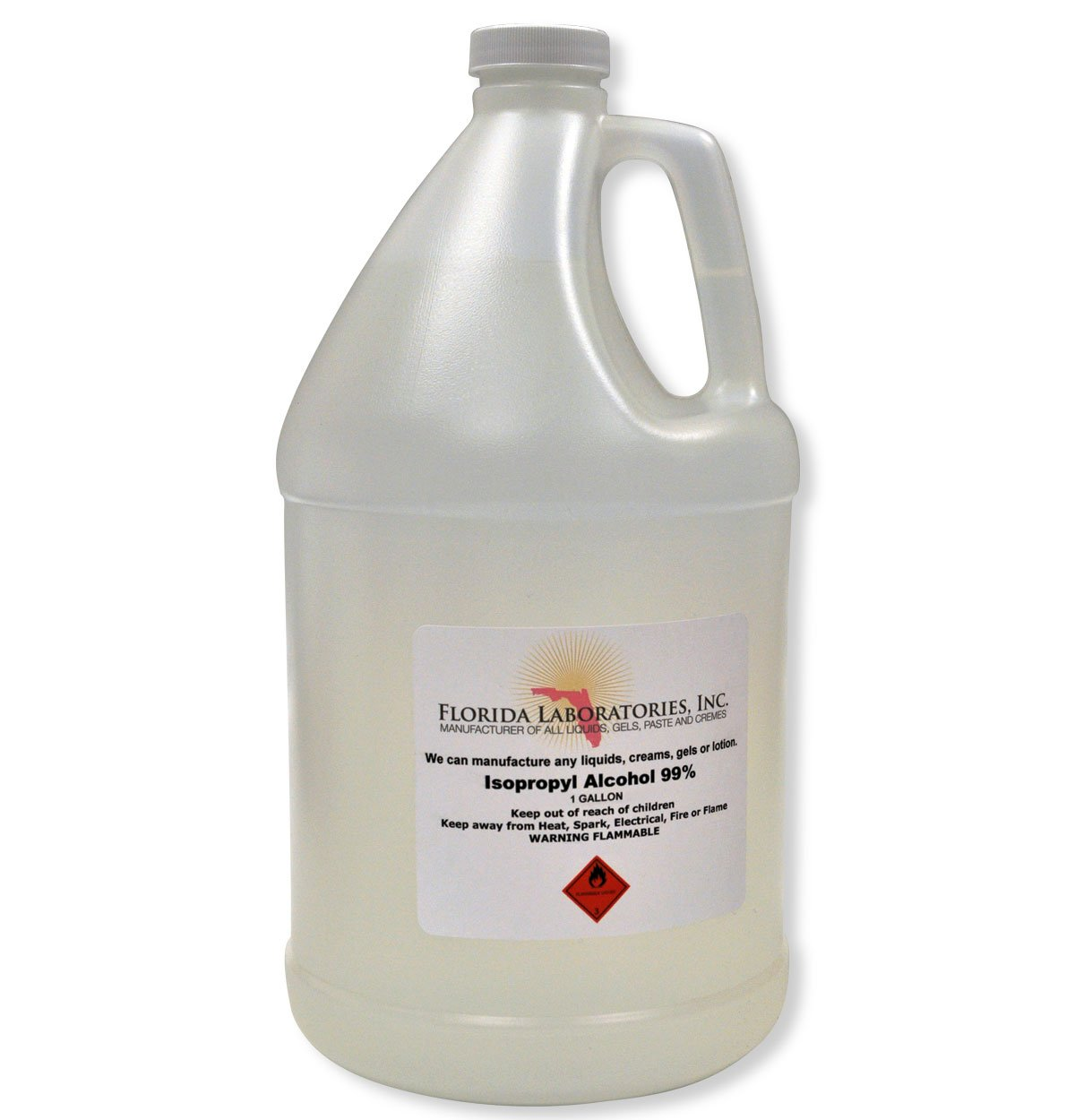 1 Gallon Isopropyl Alcohol Grade 99% Anhydrous - Pack of 4 Quarts by Florida Laboratories, Inc.
