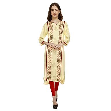 9e6974330c6 Luxury Living Kurti Lemonade Color Bright Designer Kurti With Embroidery  Best Creations Top Amazingly Beautiful Dress
