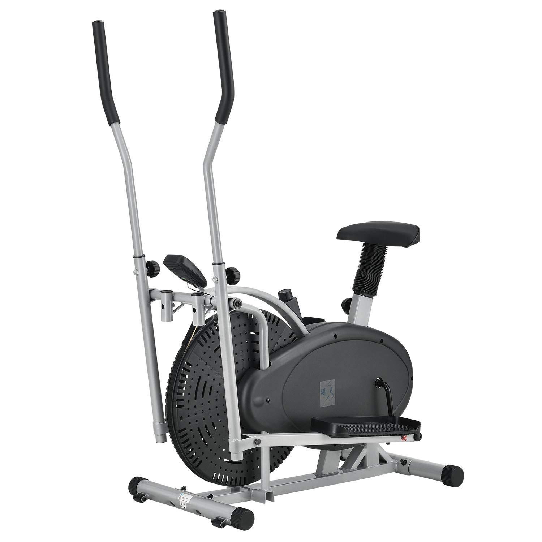 ArtSport 2in1 Crosstrainer und Heimtrainer - Fitnessgerät inkl. Trainingscomputer mit LCD-Display, Schwungrad und rutschsicheren Trittflächen