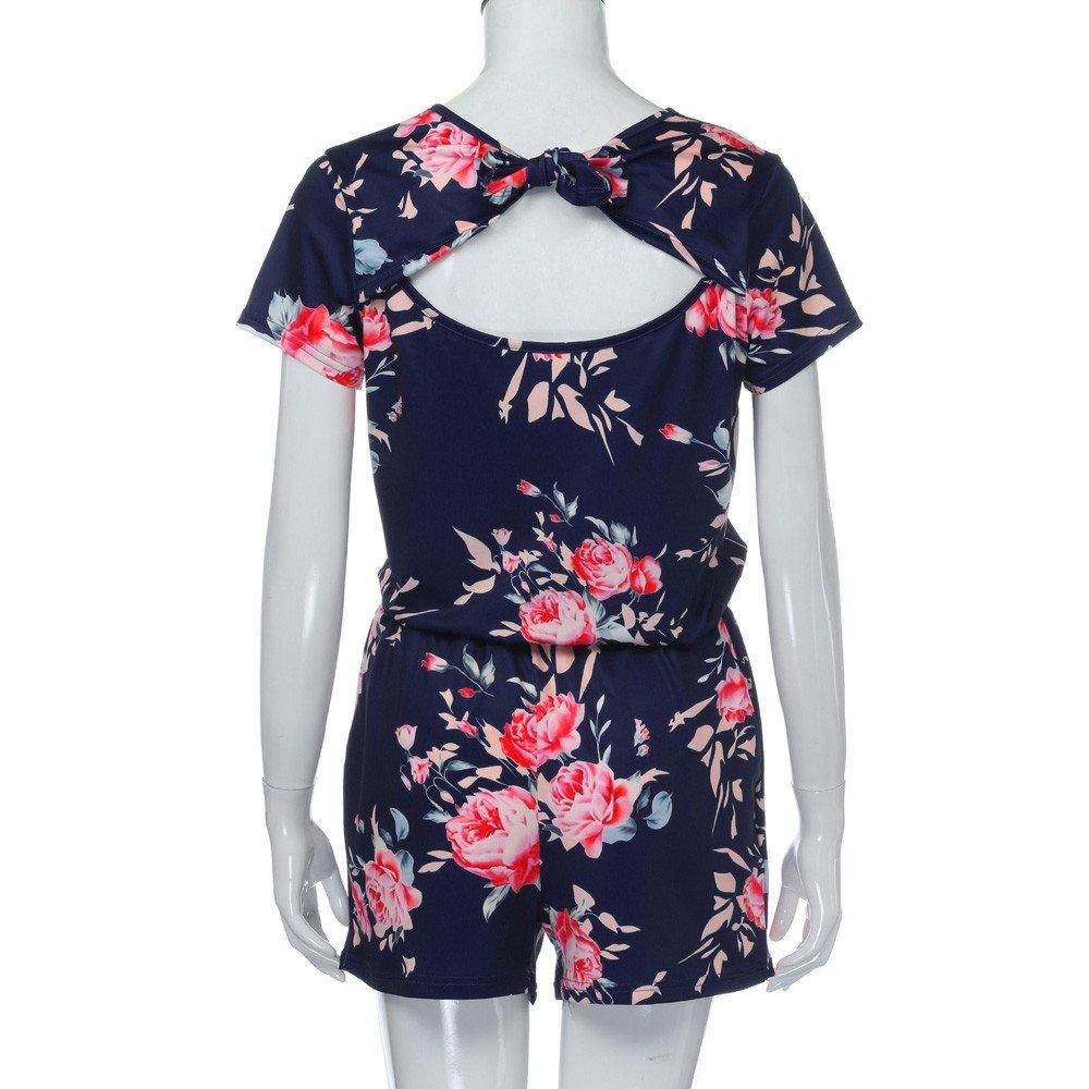 Jumpsuits for Women Floral Short Sleeve Pocket Beachwear Romper Jumpsuit Bodysuit (S, Navy) by Chanyuhui (Image #5)