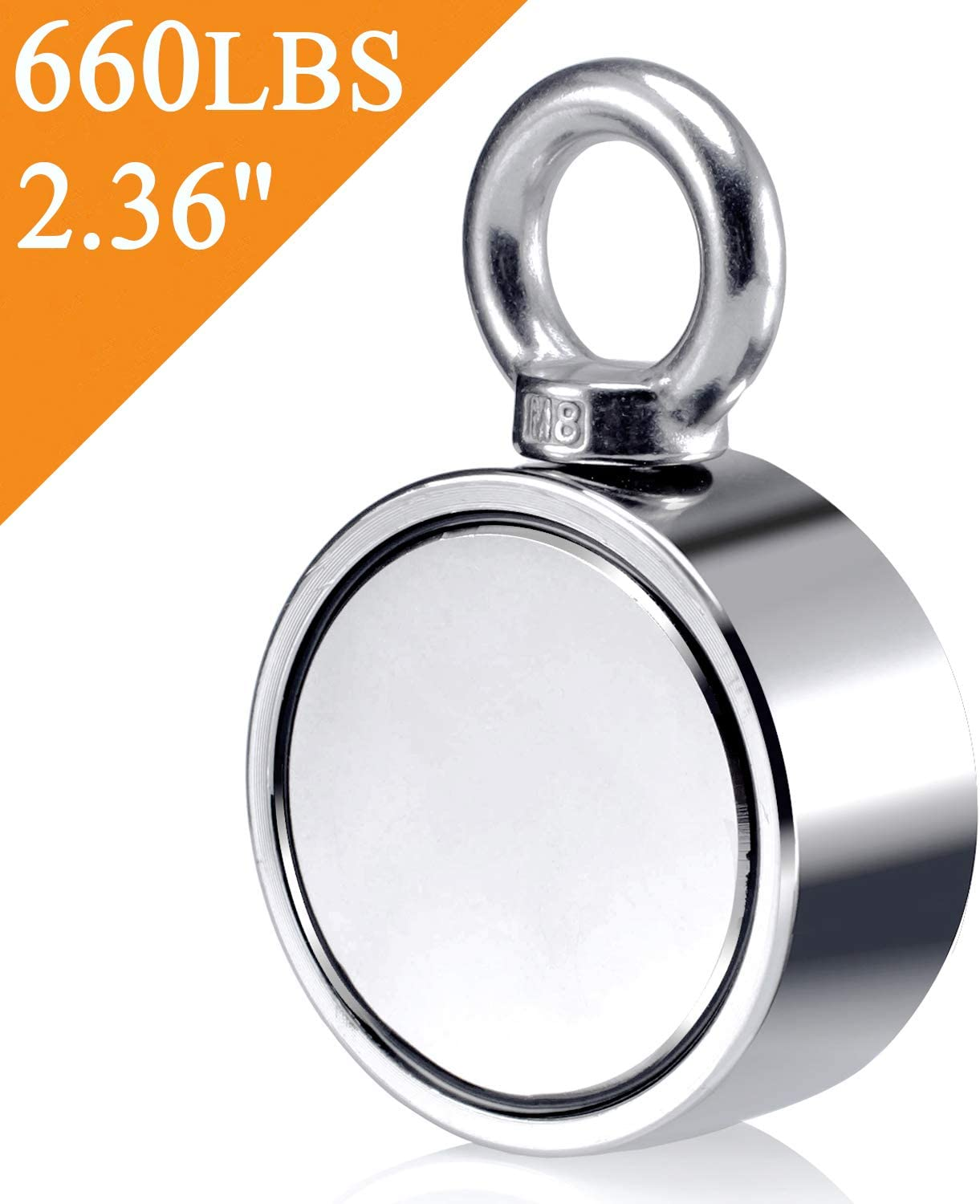 600KG Combined 300KG 660LBS Pull Force Fishing Magnets Double Sided Neodymium