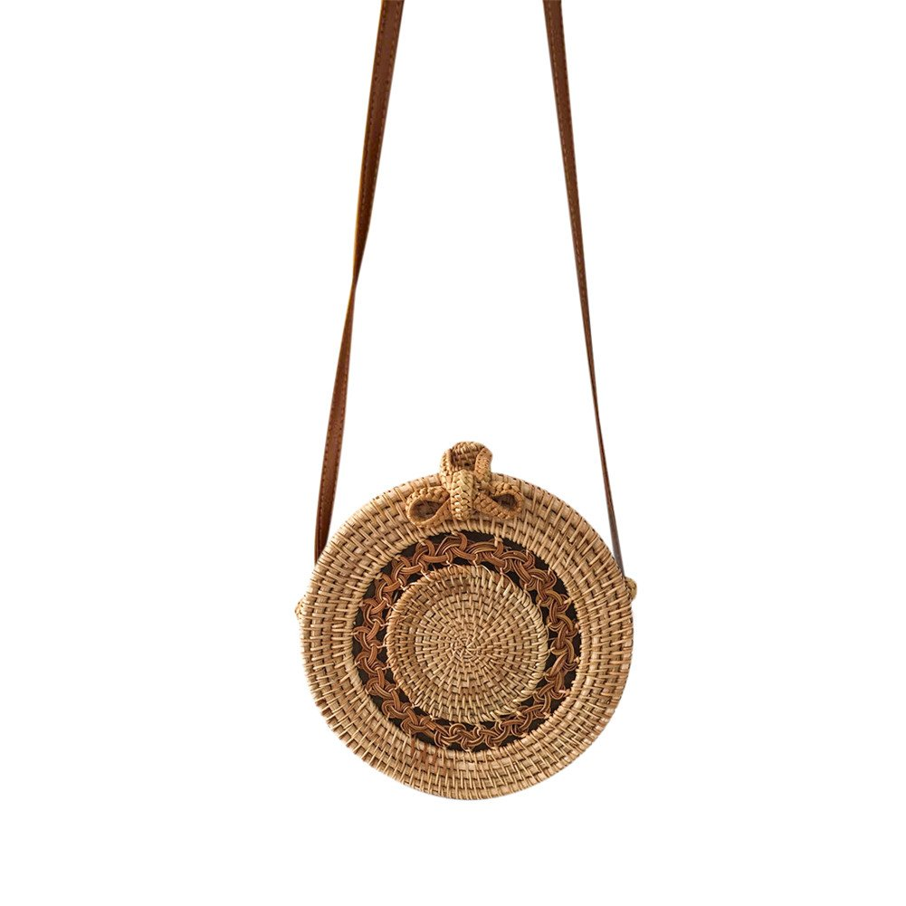 Yunhigh Round Woven Bag,Hand Woven Rattan Bag with Leather Strap Braided Women Crossbody Bag Chic Retro Summer Beach Shoulder Bag Boho Style