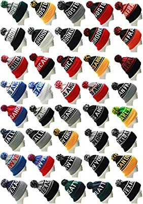 American Cities USA Favorite City Cuff Cable Knit Winter Pom Pom Beanie Hat Cap